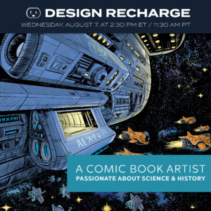 Episode 308. Airs August 7, 2019. André Caetano is a comic book artist, an illustrator, a designer, and an entrepreneur from Portugal. He has found a unique niche, and has found a way to connect with clients. He's also a long-time member of the Design Recharge Family