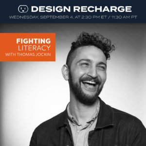 THE DESIGN RECHARGE SHOW: Thomas Jockin // Fighting Literacy Episode 312. Airs September 4, 2019. at 2:30pm ET / 11:30am PT. . This week we have a returning guest, Thomas Jockin. Thomas is an educator, a lover of type, and a practitioner (he creates fonts). He has been working on a very interesting project that is helping fight literacy in a new way. . He was hired to create a variable font which allows each person to set the spacing of the words. Then he got Google to fund the project. We will talk about how he got this project and what they are hoping to accomplish by using variable type to teach people to read. . Join me LIVE on Wednesday, Sept 4 at 2:30 pm ET / 11:30 am PT PT. Go to https://bit.ly/dr-list to SIGN UP to get the link (link in profile), delivered each week directly to your inbox. . If you already get the weekly newsletter no need to sign up you will get the link in your inbox 30 min before the show. . Follow Thomas and this project at: https://fonts.google.com/?query=lexend&sort=alpha https://thomasjockin.github.io/lexend https://www.lexend.com . https://www.thomasjockin.com https://www.typethursday.org . Episode and show notes will be available at https://rechargingyou.com/312 . #typedesigner #designer #typographer #googlefonts #literacy #fightingliteracy #podcast #typedesign #learningtoread #fontdesign #designrecharge #designpodcast #creativepodcast #creativecareer