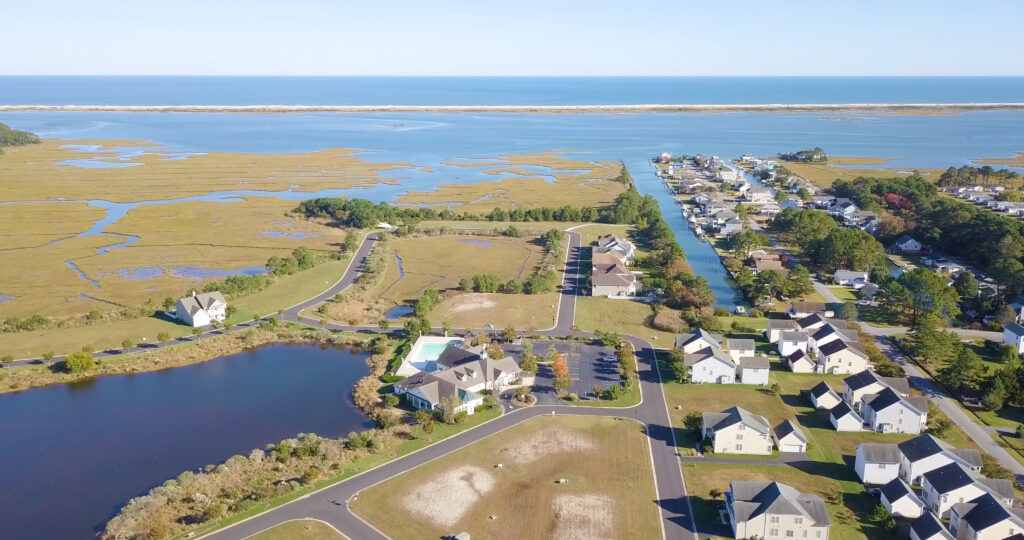 aerial image of bayside and assateague
