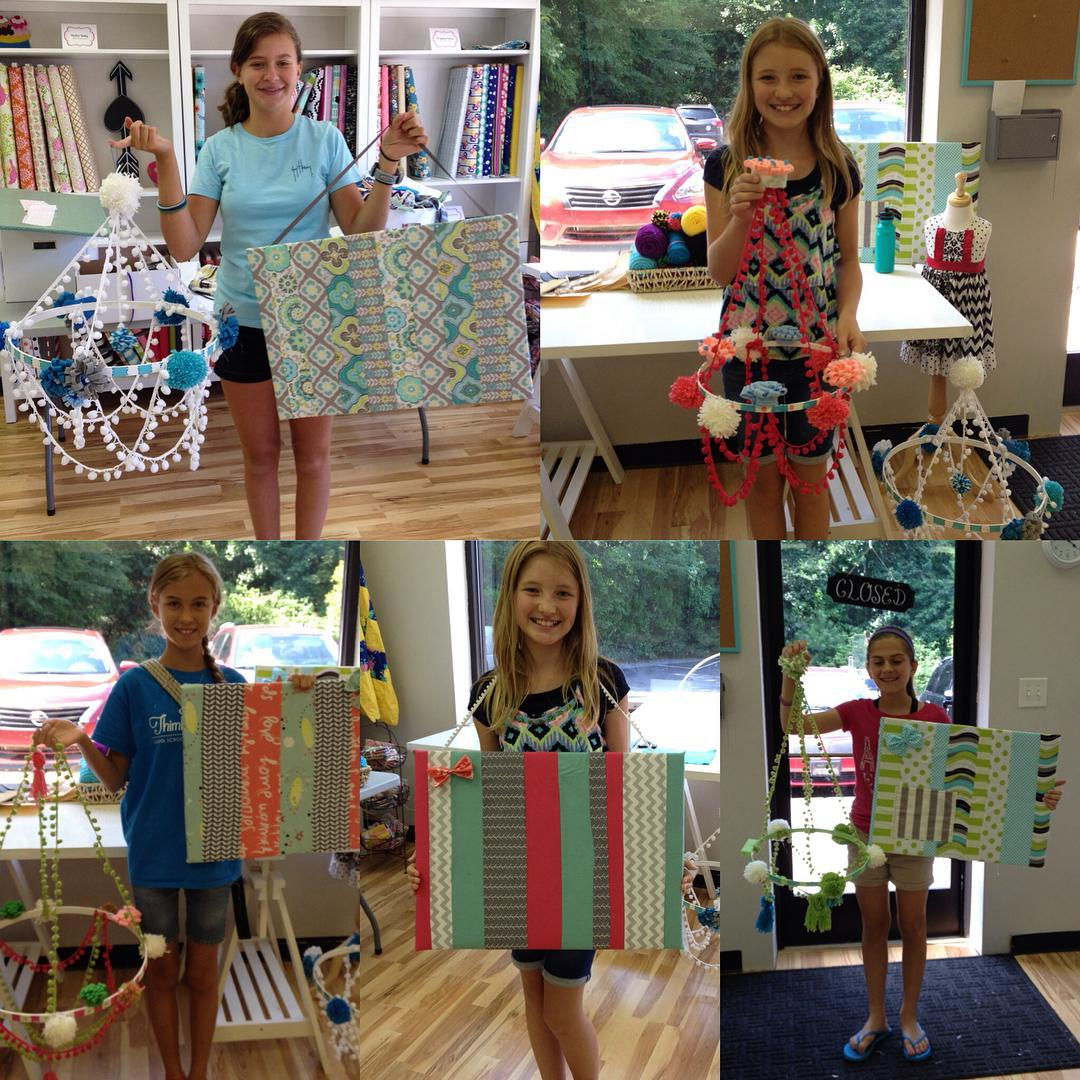 We wrapped up one of our last summer camps of the season today in All About Bedrooms! These girls were such a pleasure to teach! We had lots of fun and even survived the monsoon that blew through Waxhaw yesterday! Take a look at their beautiful creations, PomPom Chandeliers and Scrappy Quilt Memo Boards! #thimblebeessewingschool #summersewingschool