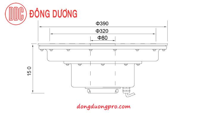 Kích thước đèn led dùng cho vòi phun trung tâm có size lớn -DDL-390GK