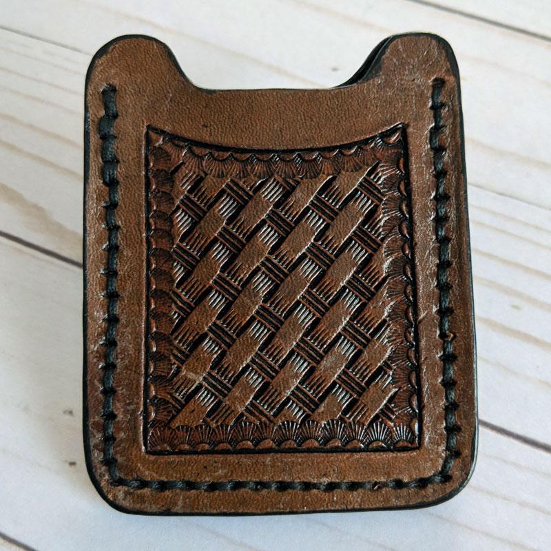 Dark Brown Basket Weave Wallet Money Clip