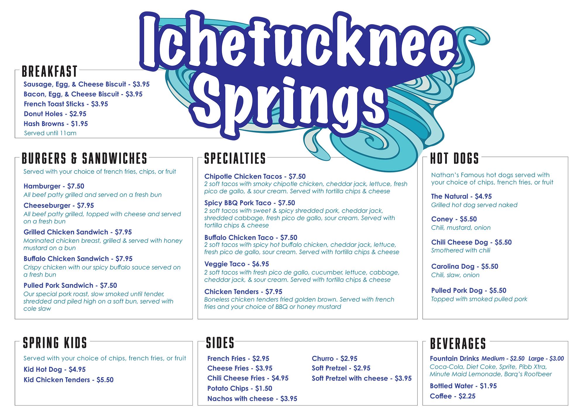 Food Truck at North Entrance Menu General Store Menu at Ichetucknee Springs