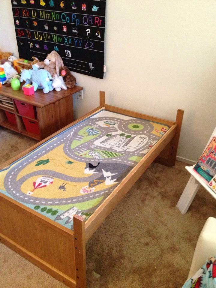Turn a toddler bed into a train table in less than 5 minutes! with this crazy simple hack!