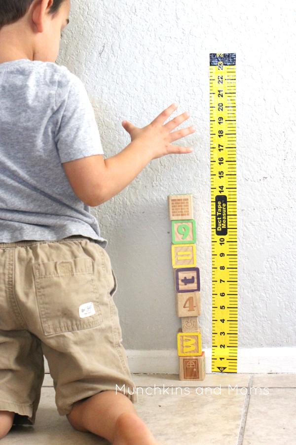 Preschool build and Measure block center   preschool STEM   This measuring tape is a necessity for block centers!