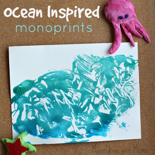 ocean inspired monoprints - a great preschool art project!