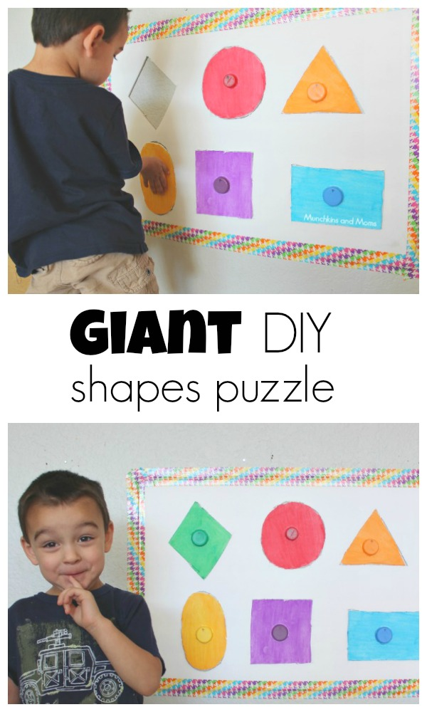 Make this simple giant DIY shapes puzzle for your toddler and preschooler