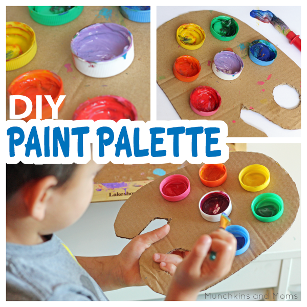 Make this simple DIY paint palette for preschoolers! Perfect for a painting party or art summer camp, too!