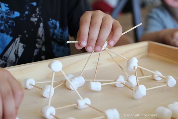 marshmallow and toothpick building challenge with preschoolers