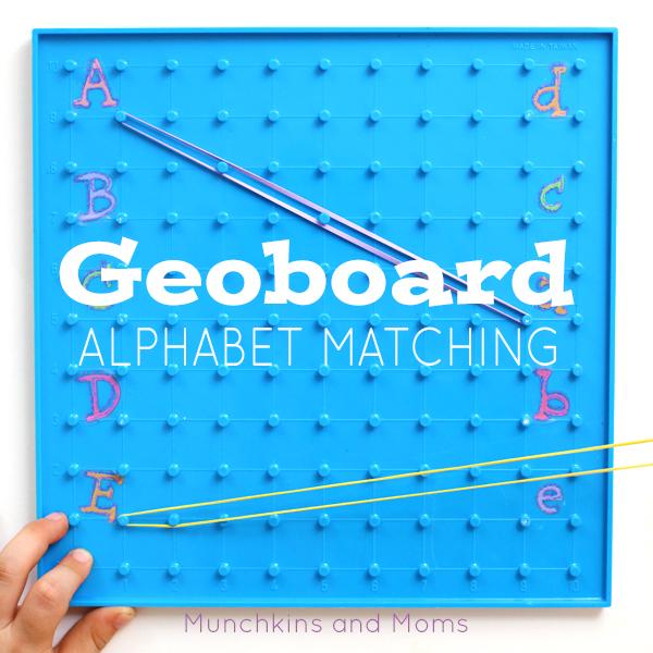 Combine fine motor skills and alphabet practice with this Alphabet Geoboard Activity!
