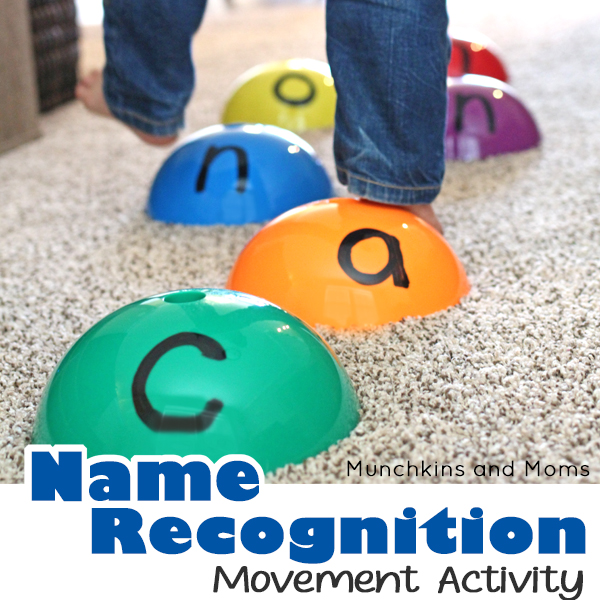 Name Recognition activity that has kids moving! This is a great gross motor exercise for preschoolers!