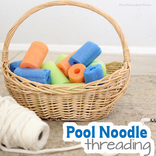 Use pool noodles for an extra-large threading activity for preschoolers!