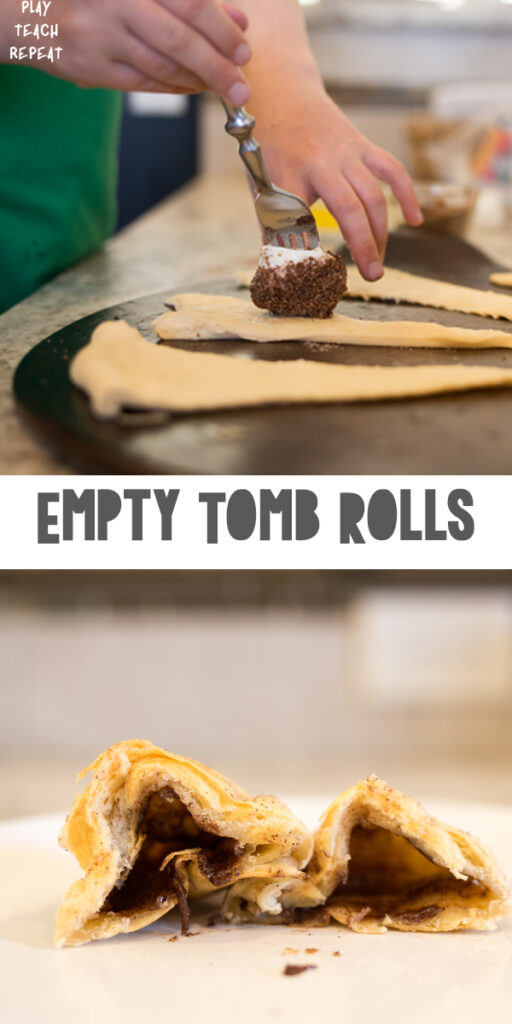 Empty Tomb Rolls (Resurrection Rolls) to celebrate the meaning of Easter with Kids!