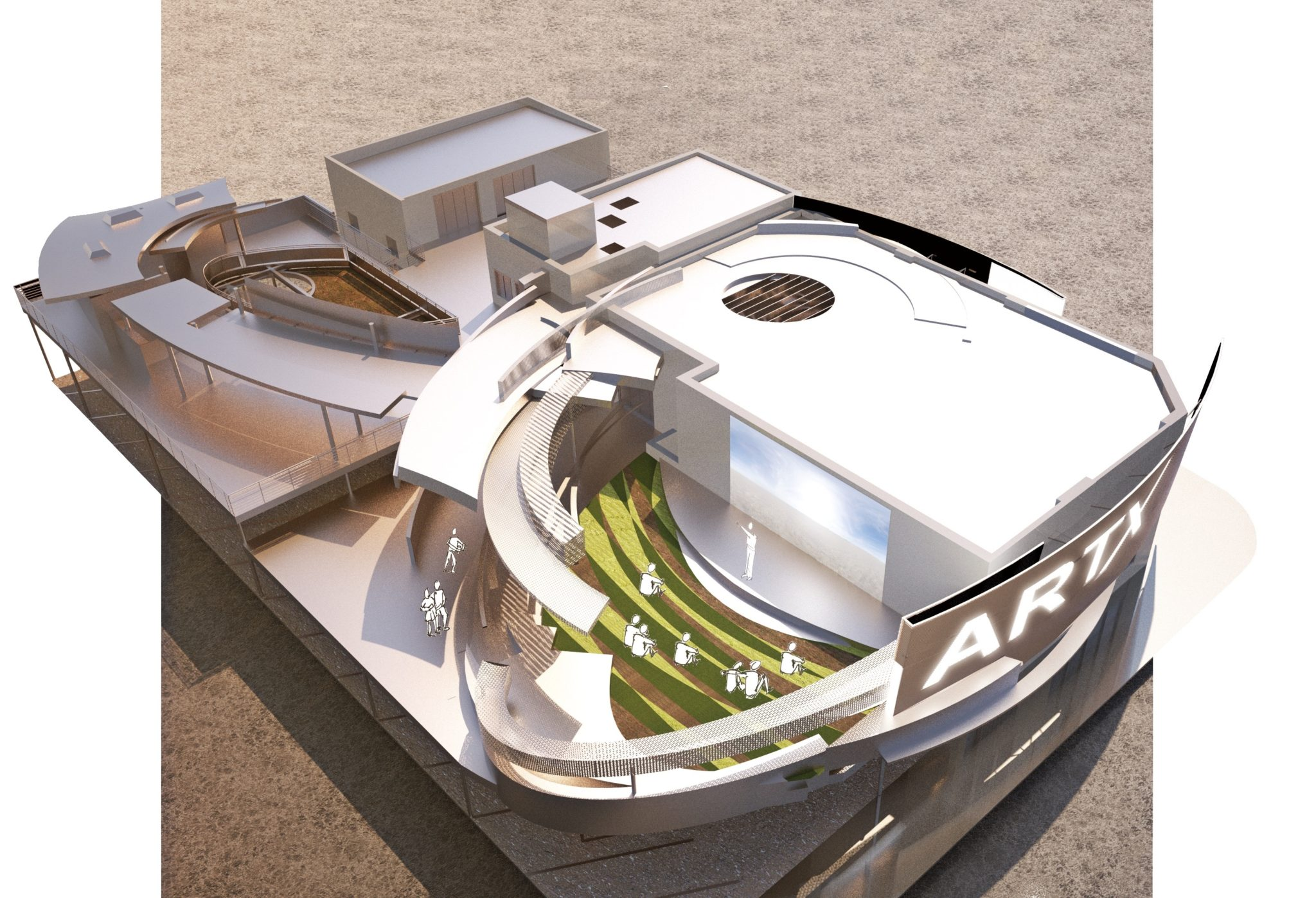 3D Exterior model - Visualization Art X Gallery and Workshops Ultra Unit Architectural Studio