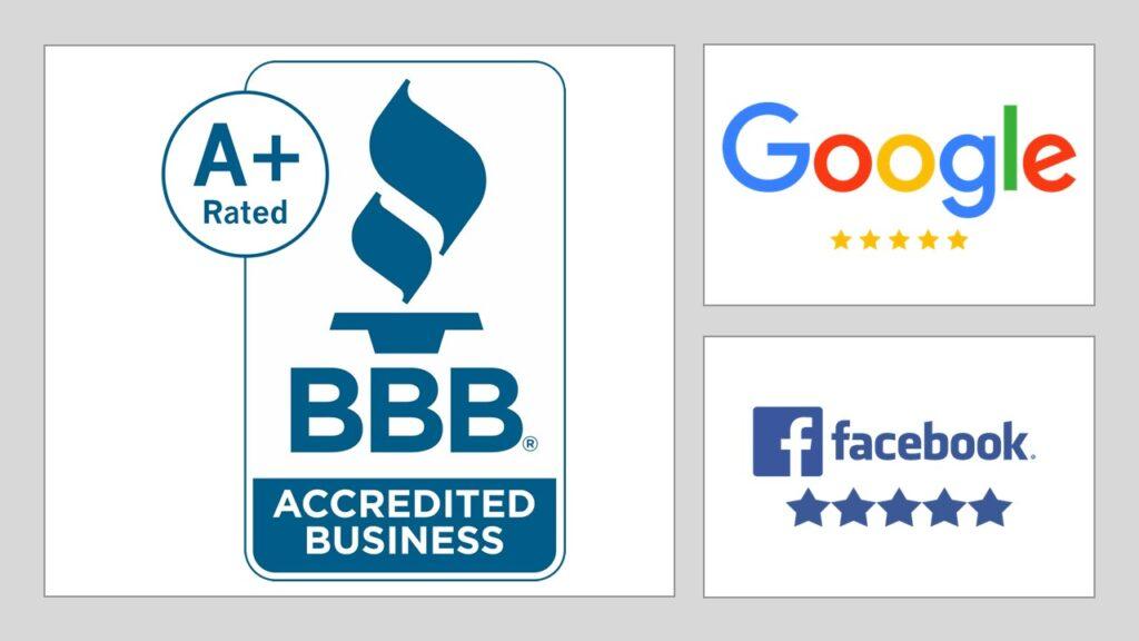Five Star Facebook  BBB  A+ Five Star Google