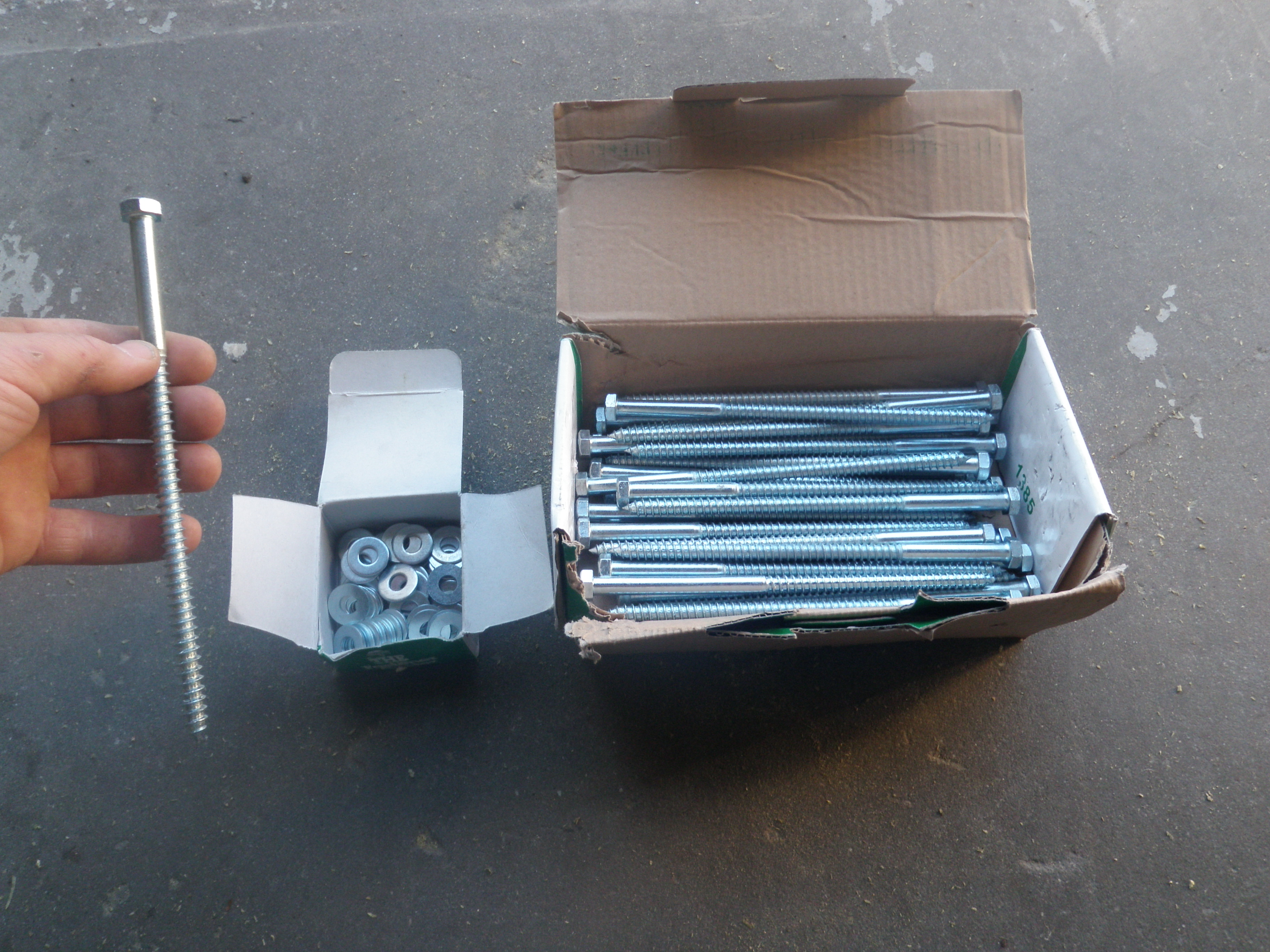 Lag Bolt and Washers for Fastening the Mailbox Posts