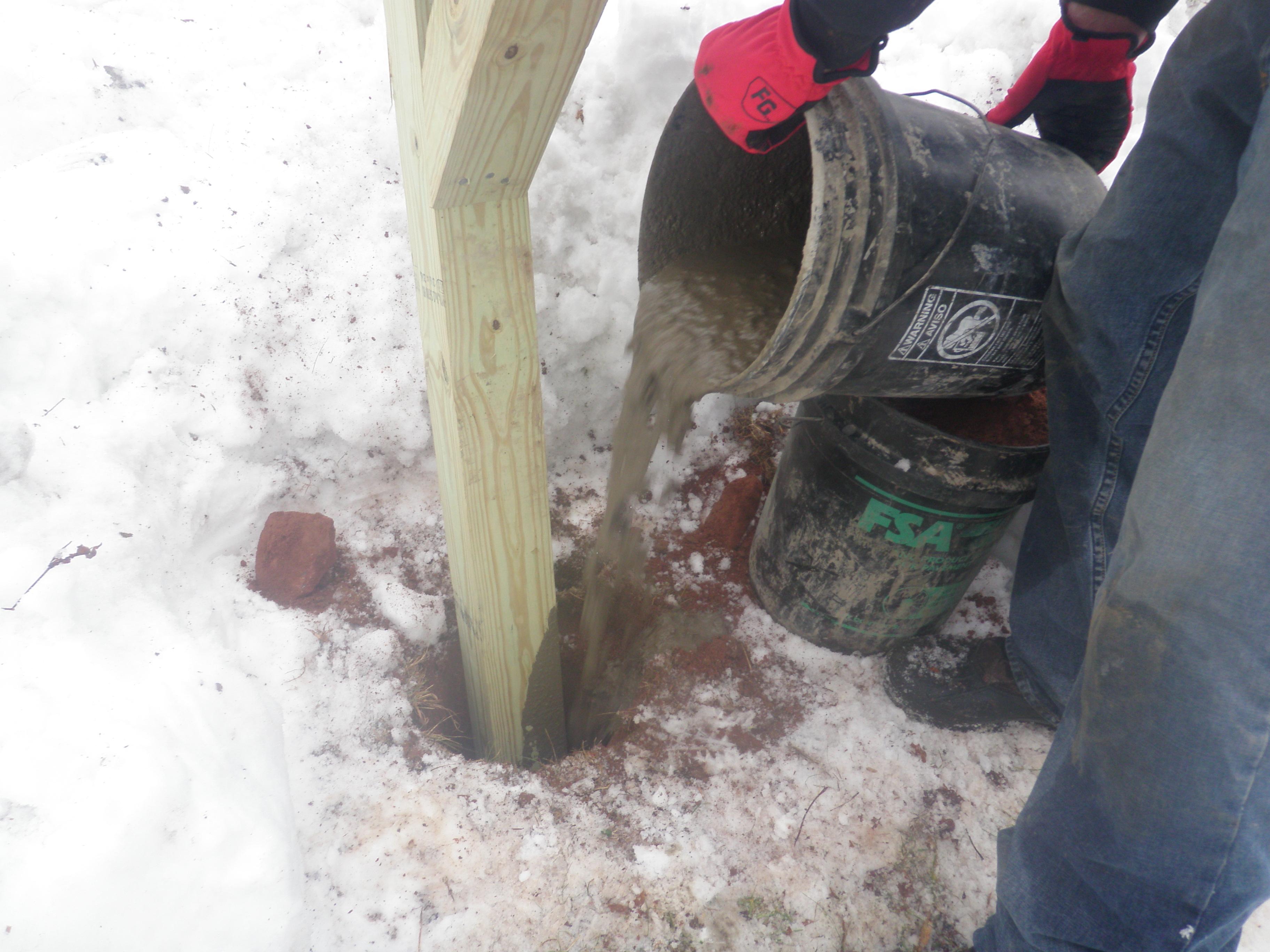 Pouring Concrete into Mailbox Post Hole