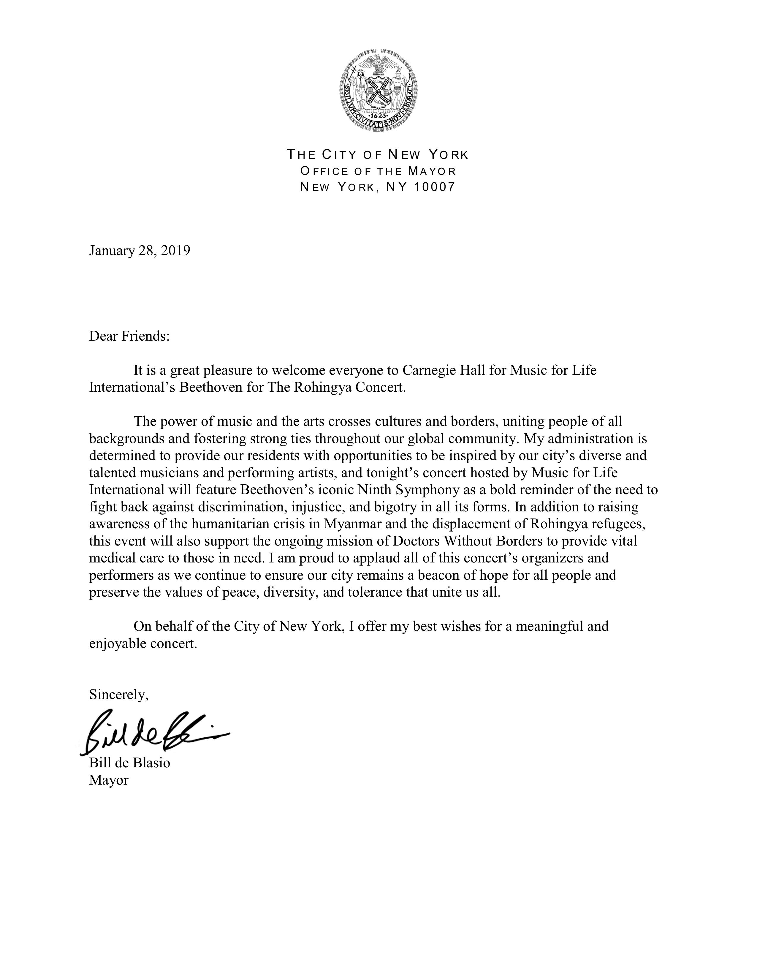 Mayor's Message Bill de Blasio for Carnegie Hall