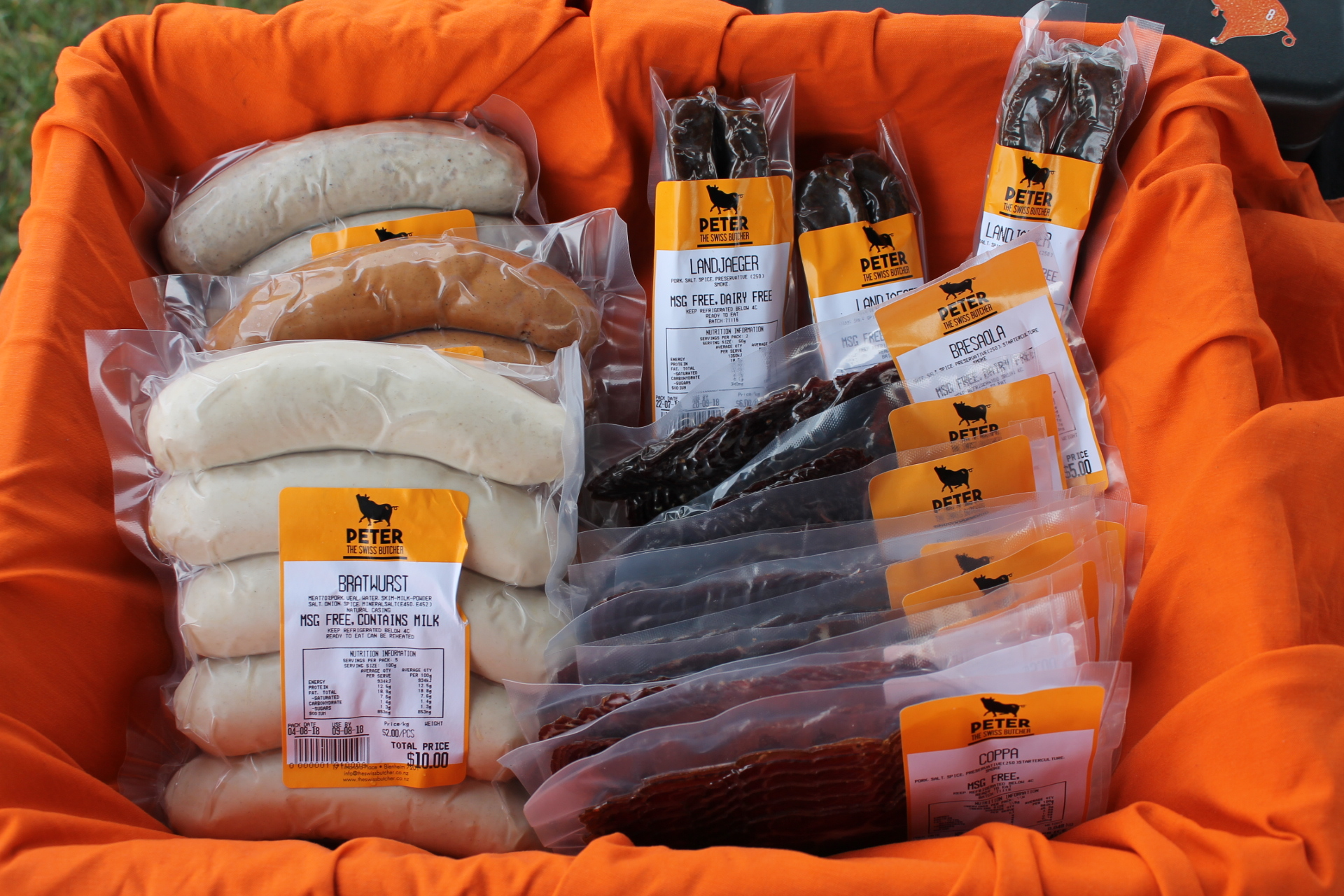 Peter the Swiss Butcher's pupular dried meats and sausages at the Marlborough Farmers Market