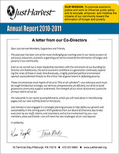 Just Harvest's 2010 Annual Report