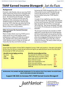 TANF Earned Income Disregard - a Just Harvest fact sheet