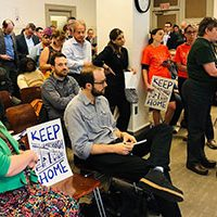 Just Harvest grassroots organizer Helen Gerhardt address Pittsburgh's Planning Commission in support of the plan to create inclusionary zoning in Lawrenceville