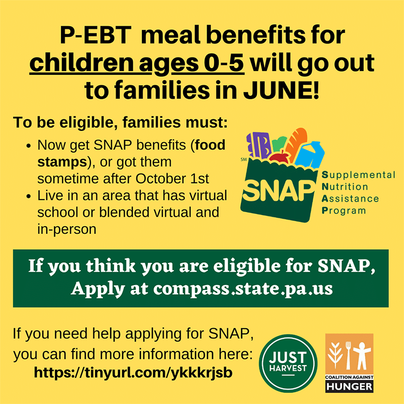 P-EBT meal benefits for children ages 0-5 will go out to families in June!
