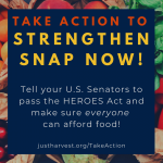 Take Action to Strengthen SNAP Now! Tell your U.S. Senators to pas the HEROES Act and make sure everyone can afford food!