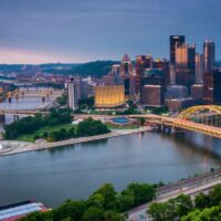 City of Pittsburgh downtown skyline and rivers