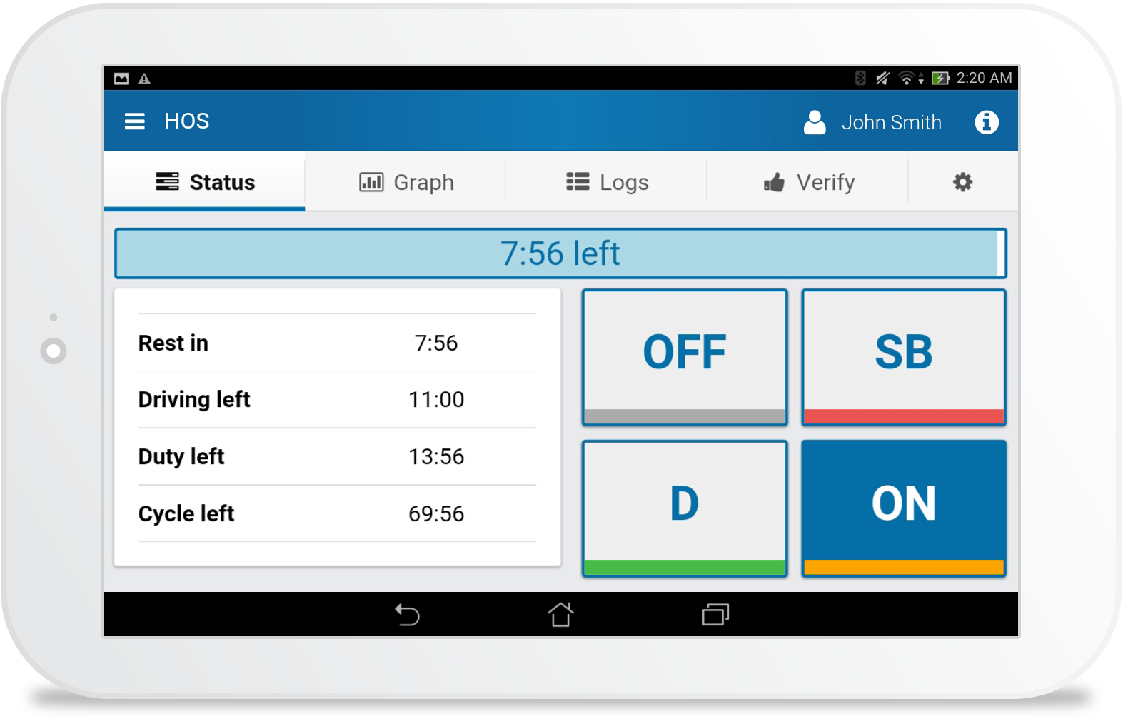 Hours of Services (HOS) on Tablet
