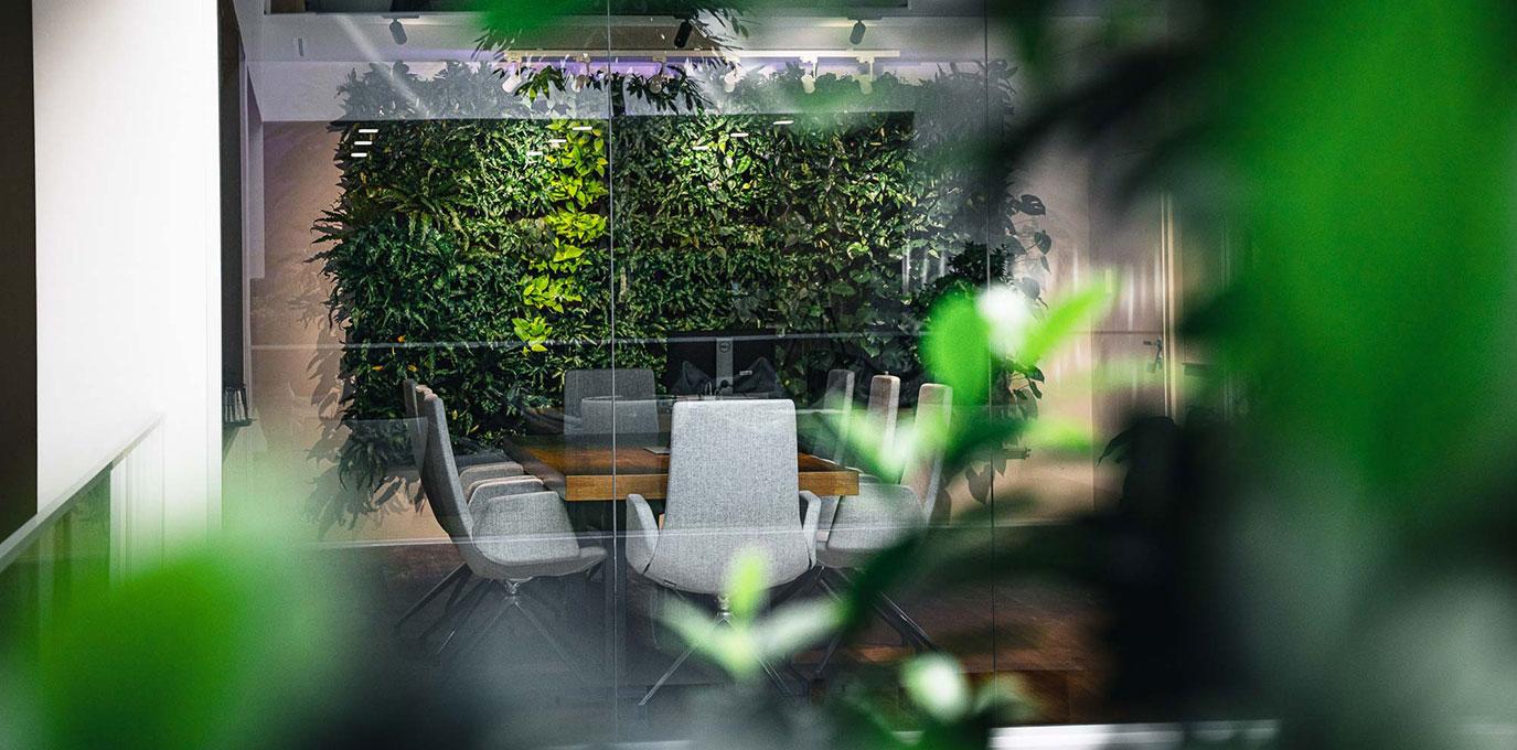 meeting room with greenery