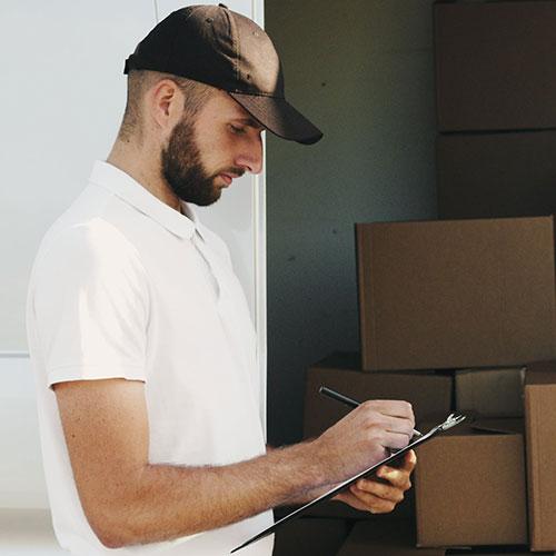 white glove service delivery man