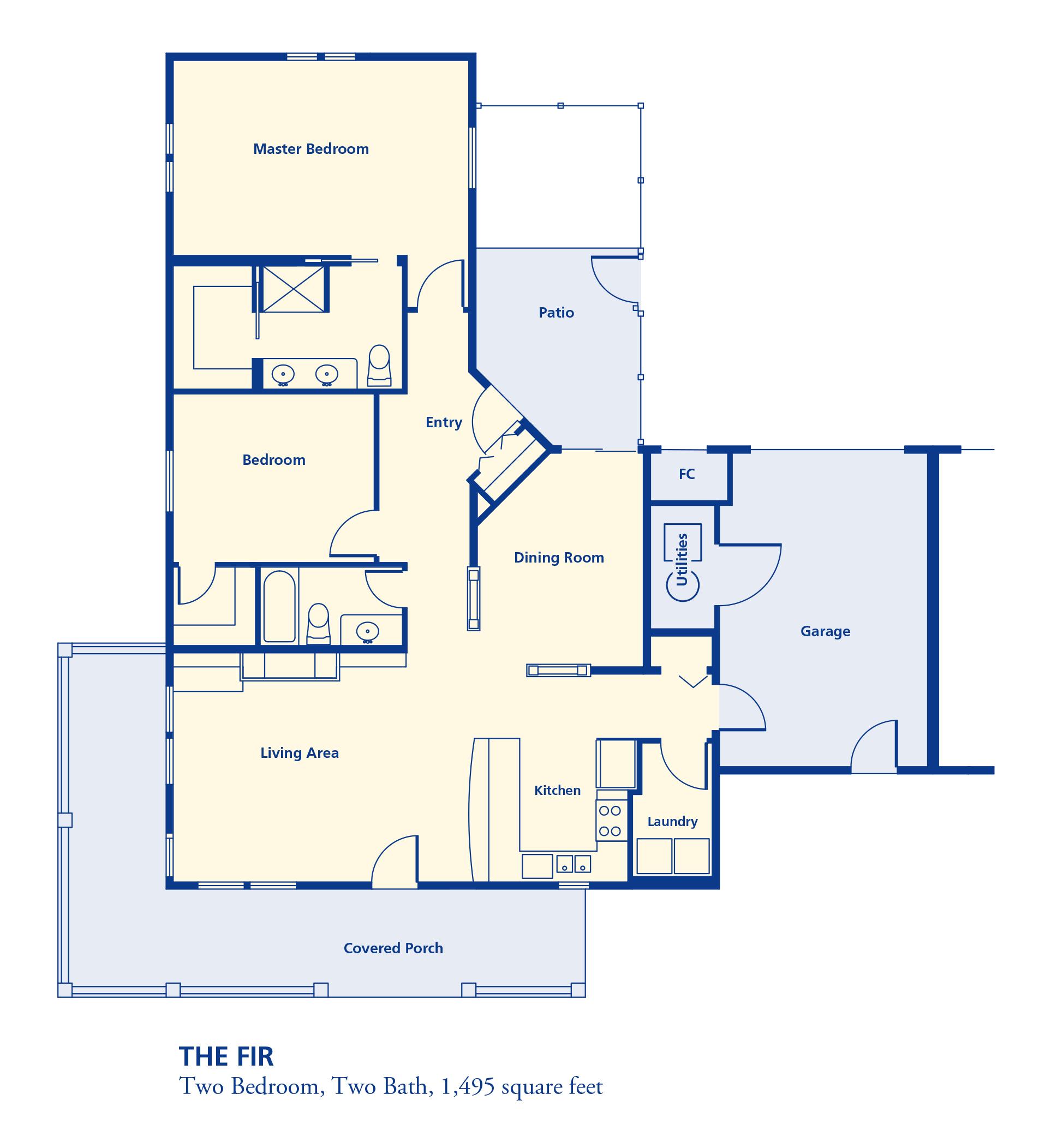 The Fir Two bedroom two bath 1495 square feet senior independent retirement residence living Denver