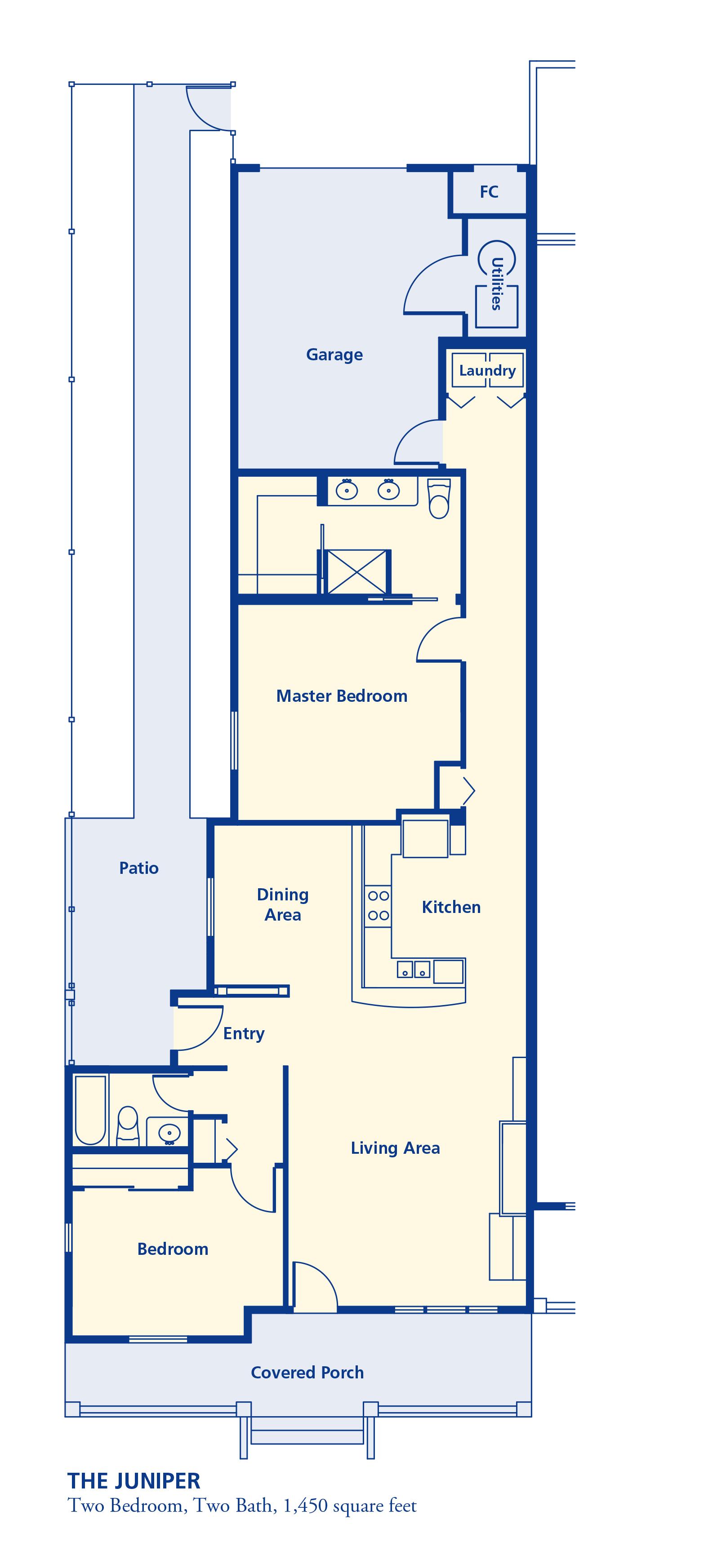 The Juniper Two bedroom two bath 1450 square feet senior independent retirement residence living Denver