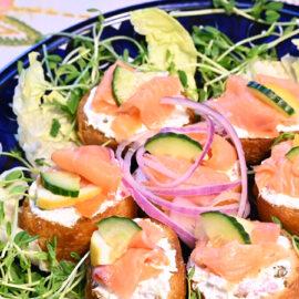Bruschetta with Chevre and Smoked Salmon