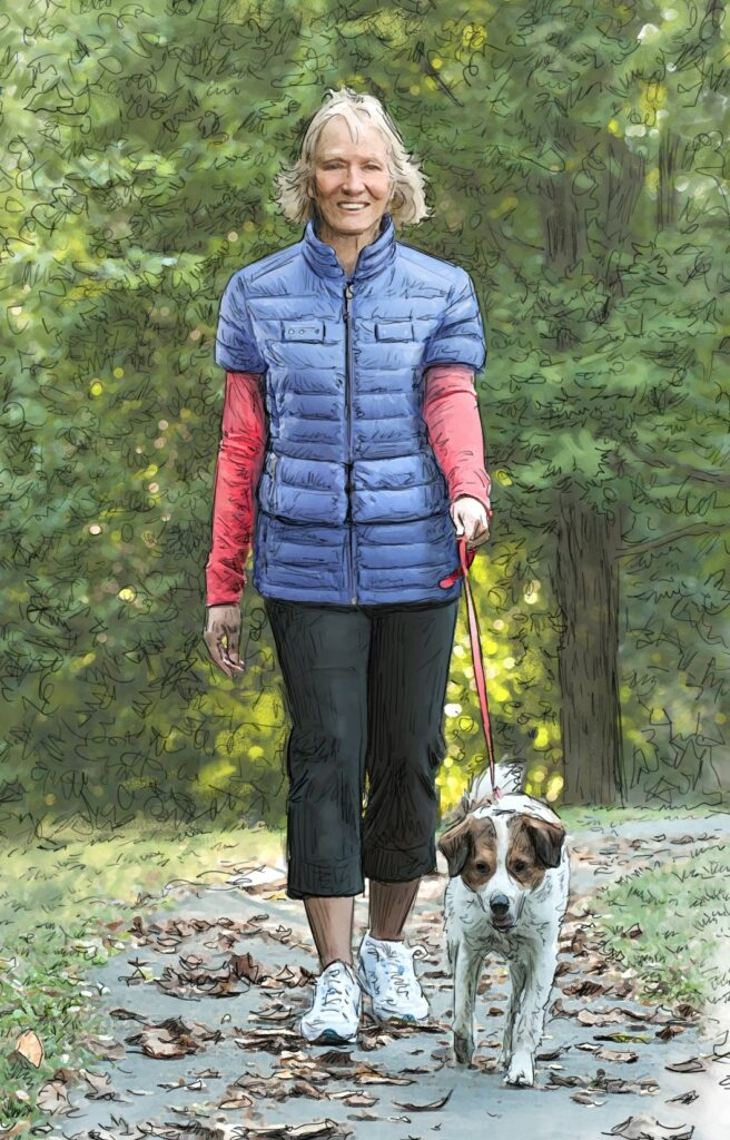This illustration shows a woman wearing the SAF-T VEST while walking her dog.