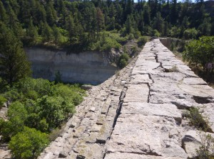 The remains of the Castlewood Canyon Dam.