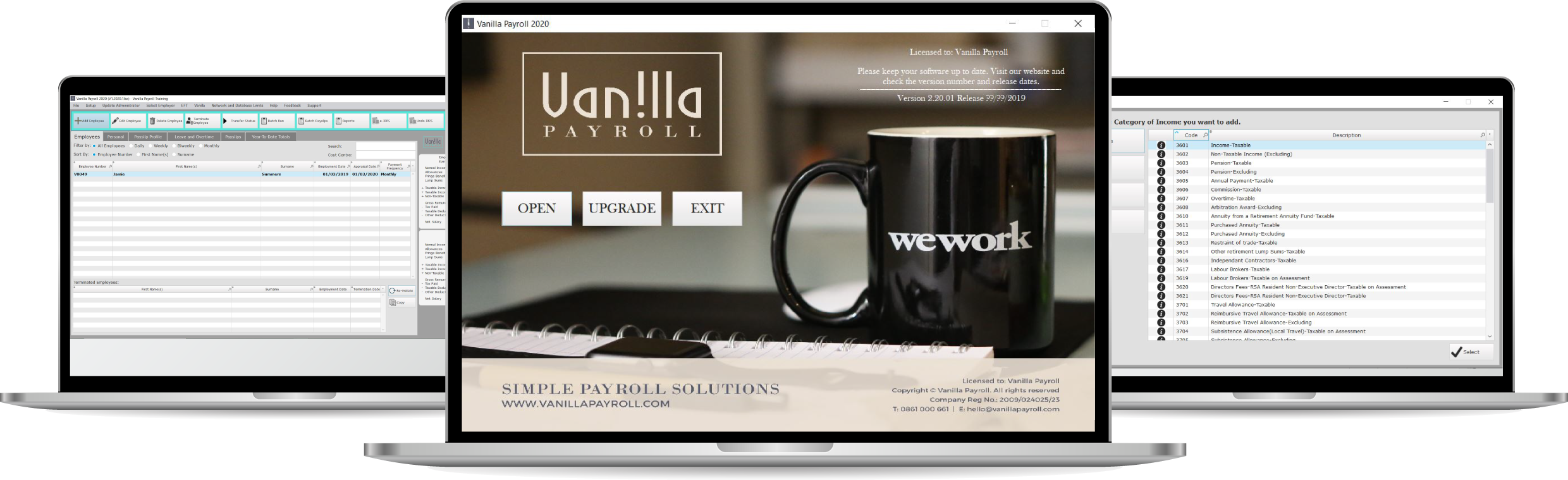 Screens showing Vanilla Payroll Software in action