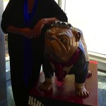 Raeleen pictured here with the music department version of the Butler Bulldog mascot. They call him Wolfgang AMADOGUS Mozart!