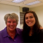 """Raeleen pictured here with former Palatine HS student (Class of 2015) Kristin Sonderegger. Kristin is now at IU and attended the master class to catch up with her """"old"""" band director!"""