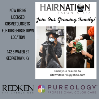 Hair Nation Georgetown is now hiring cosmetologists