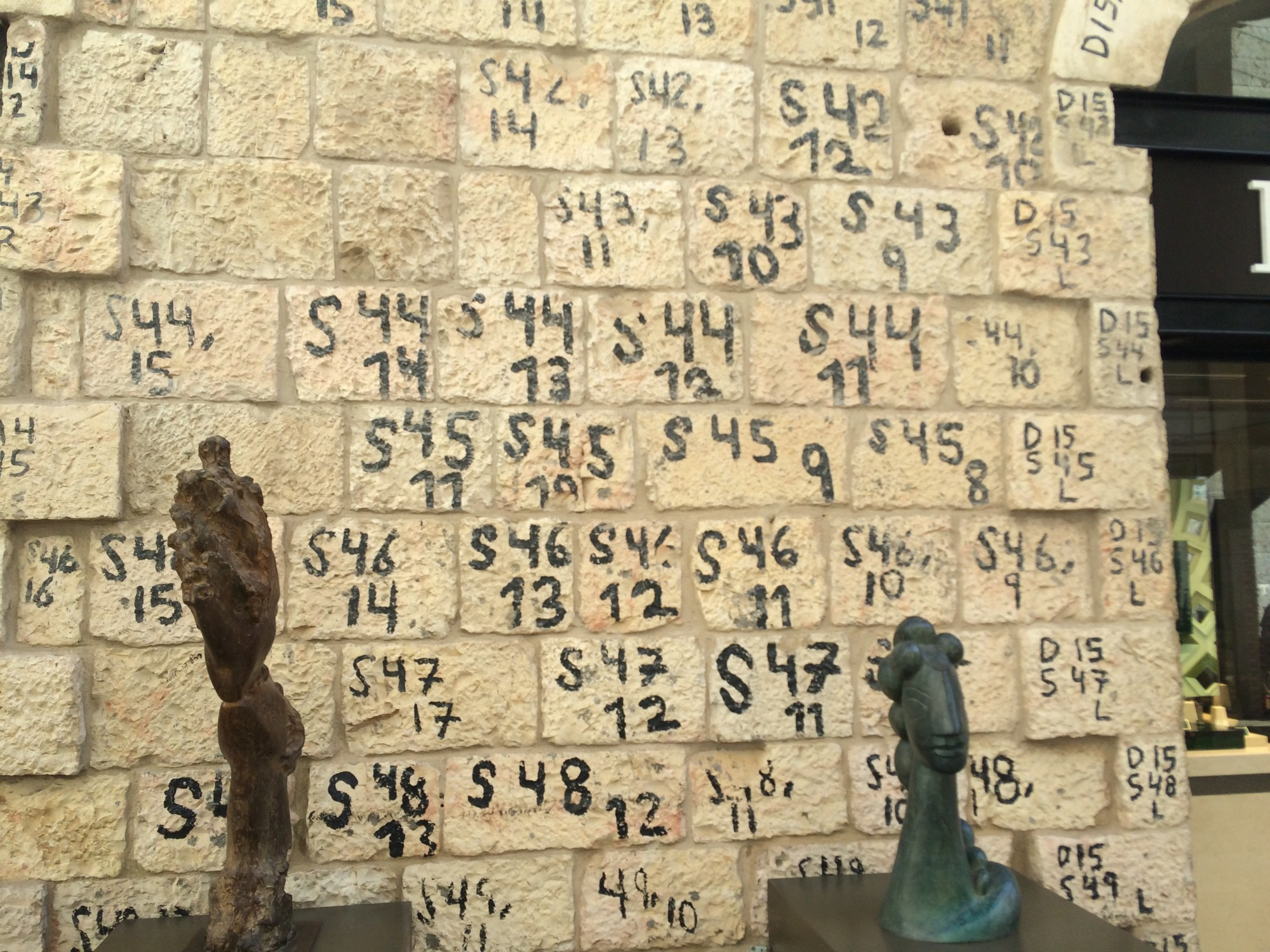 These old stones are part of a modern passageway in Jerusalem.   They have a previous history: they were part of ancient buildings, and the markings tell of their previous life.  Who knows what they've seen.  Let the stones speak.