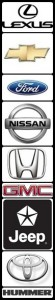 Makes and Models Lexus, Toyota, Chevrolet, Ford, GMC, Nissan, Hummer, Honda, Mercedes, and BMW