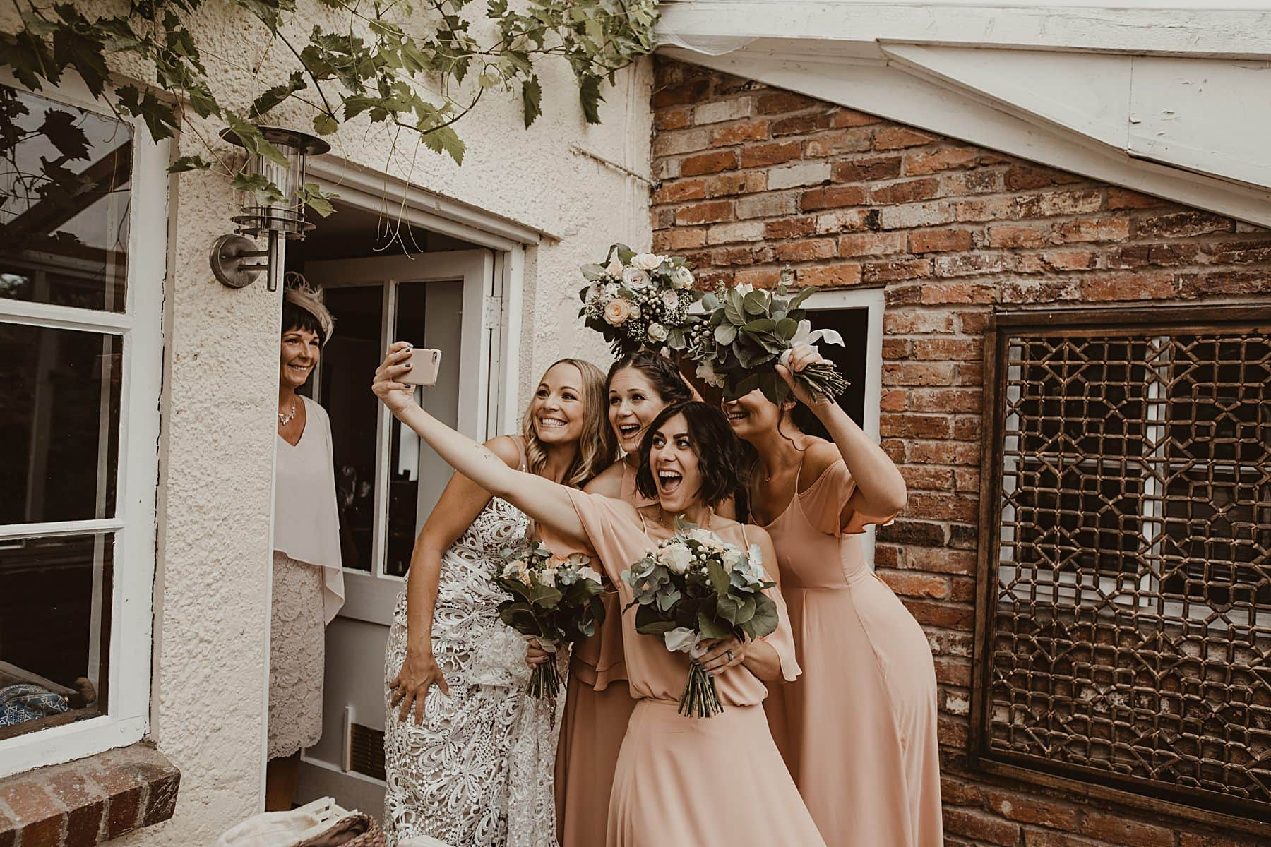 Bridal party taking a selfie