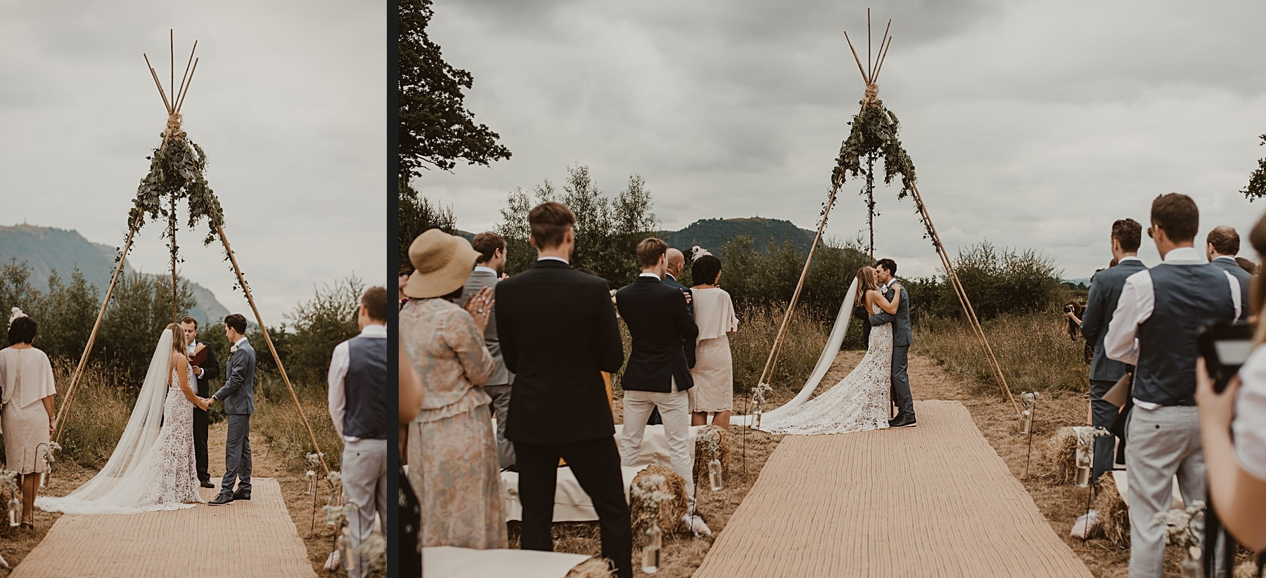 Humanist wedding in front of naked tipi