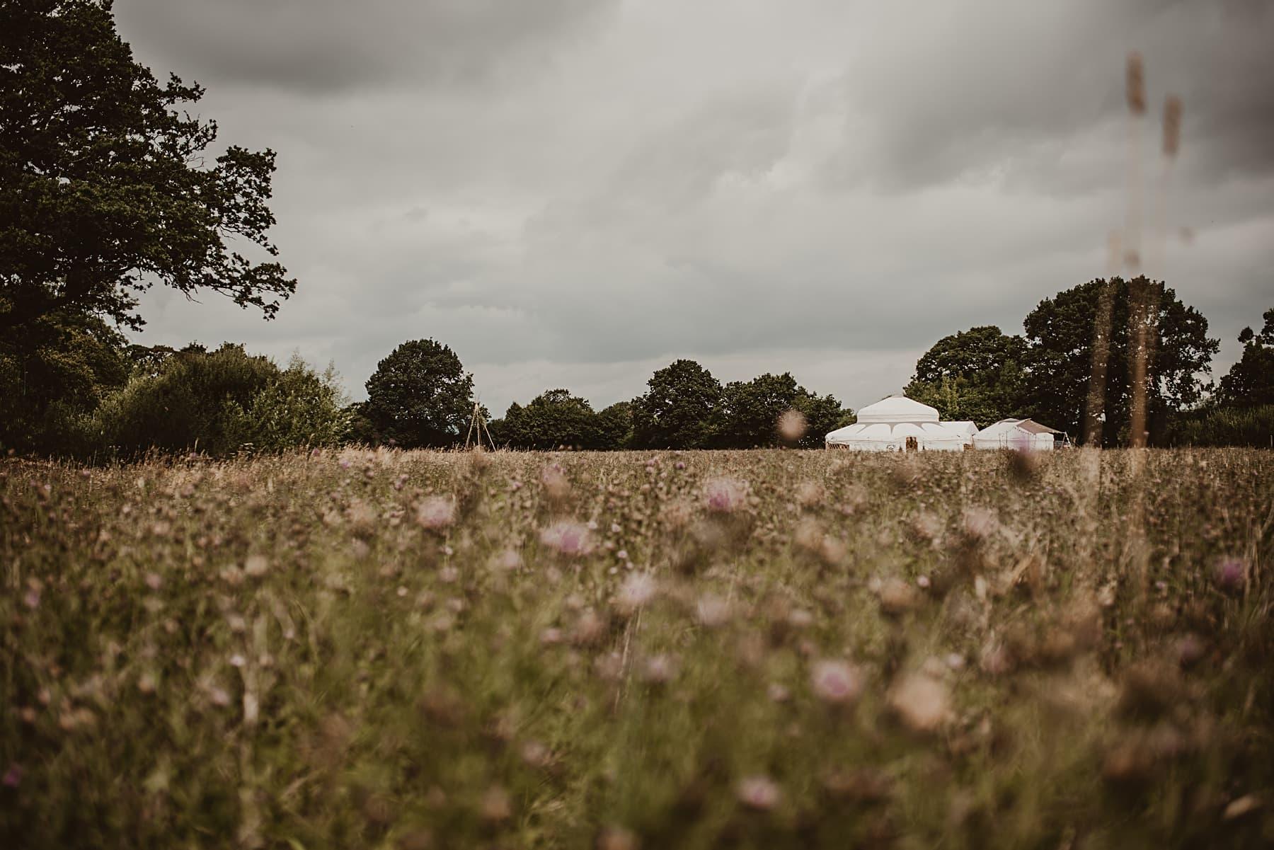Yurt in meadow wedding Sych Pwll, Powys