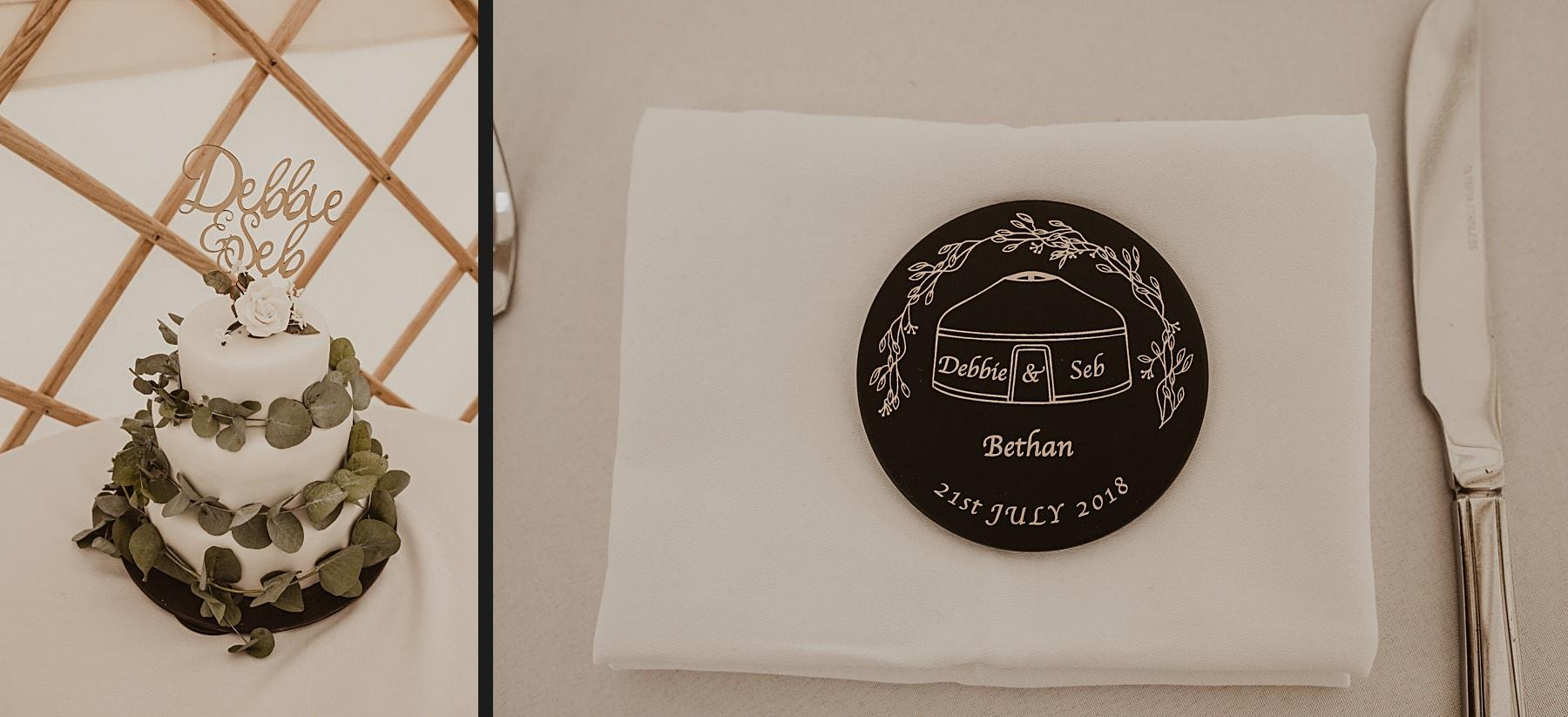 Wedding cake and slate placename