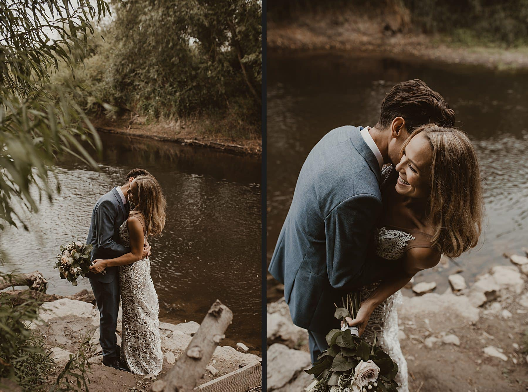 Couple laughing and cuddling by a river