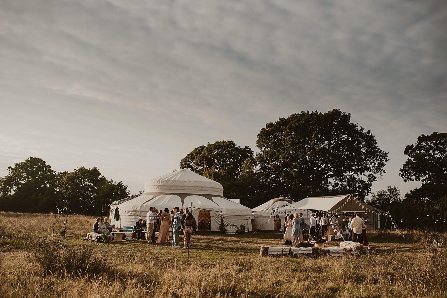 Yurt in meadow sunset