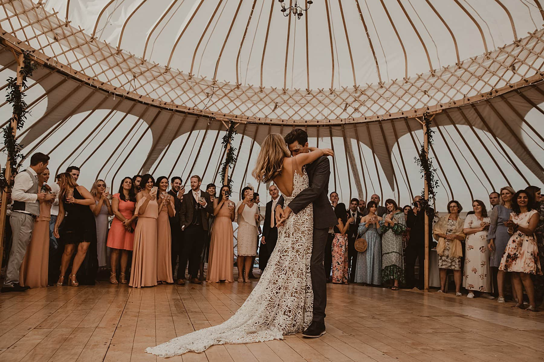 Bride and Groom first dance in yurt